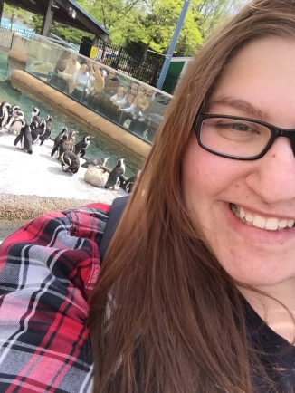 It was so sunny, but I wanted a selfie with the penguins.